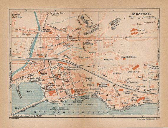 St Raphael France Map.1923 St Raphael France Antique Map In 2019 Products Map