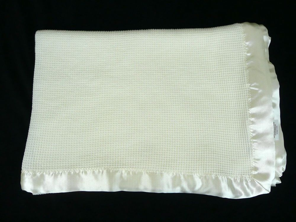 Starting Out White Thermal Satin Trim Baby Blanket Waffle Weave Security  Lovey  StartingOut 709c5d6ed