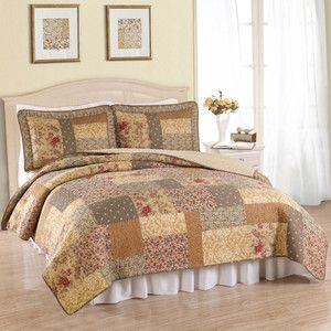 Beautiful Floral Antique Yellow Brown Rose Ivory Quilt Set New King Queen Szs Ebay Quilt Sets Chic Bedding Home