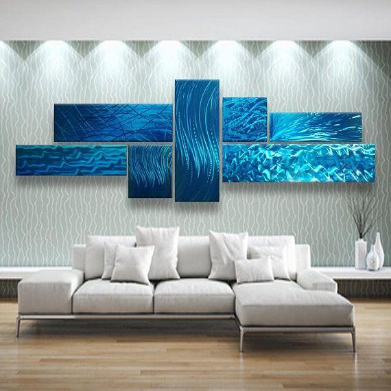 Metal Wall Art Blue Abstract Metal Wall Sculpture Modern & Metal Wall Art Blue Abstract Metal Wall Sculpture Modern Metal ...