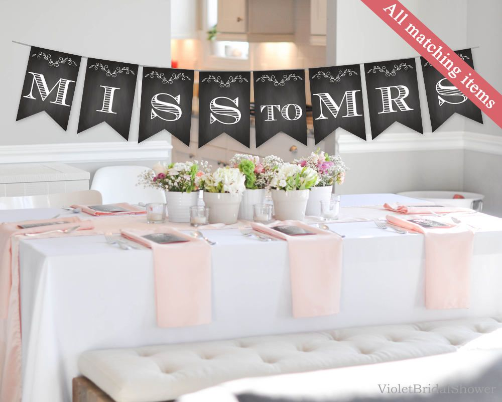 Chalkboard Bridal Shower Banner Template Printable Rustic Floral Handpainted Instant Download Black And White By