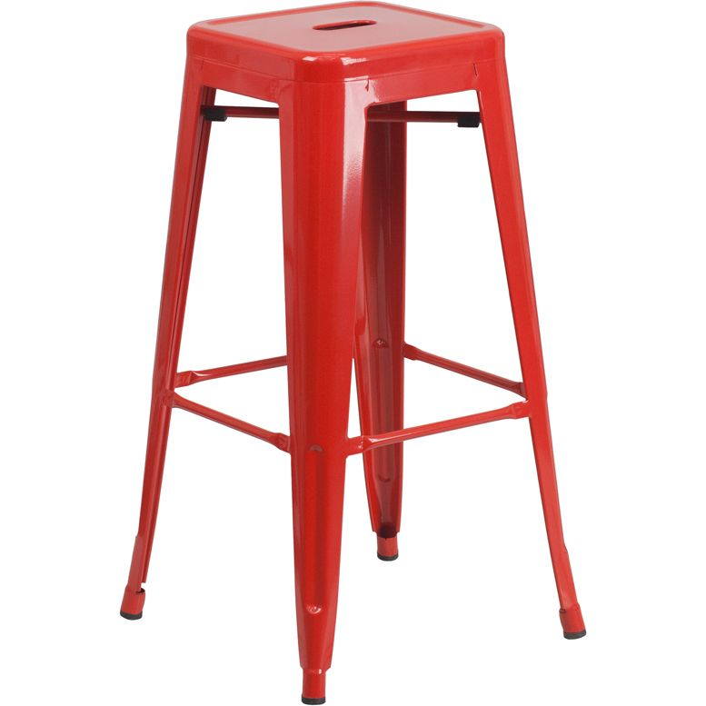 30-Inch High Backless Metal Indoor-Outdoor Barstool with Square Seat - Red