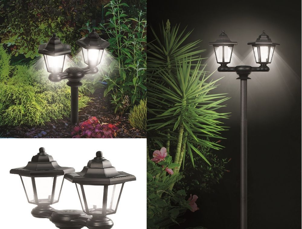3 In 1 Dual Solar Lanterns Powered Outdoor Lights Lamp Pole Stake Or Wall Mount Solar Powered Lamp Solar Lanterns Outdoor Lighting