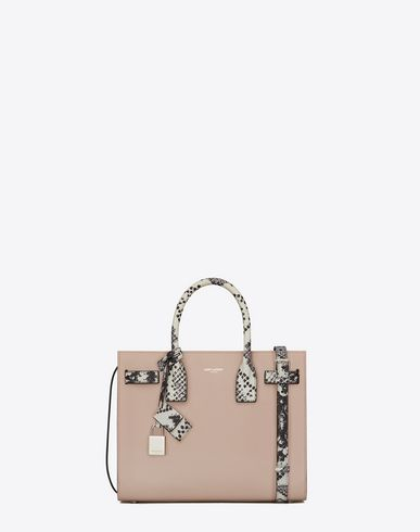 384dd80cba SAINT LAURENT Baby Sac de Jour D Classic Baby SAC DE JOUR Bag in Powder Pink  Leather and White and Black Python Embossed Leather f