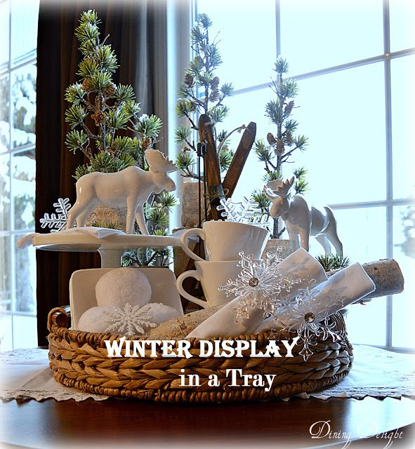 Dining Delight Winter Display in a Tray Vignettes  Tabletop - christmas decor pinterest