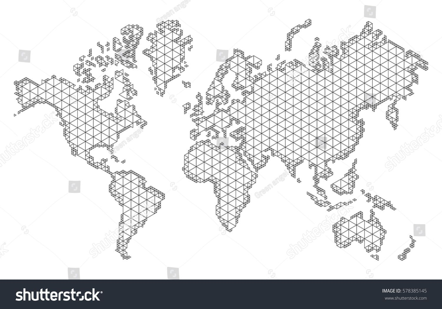 Map of world with trendy triangles design. Polygon Mesh of Earth