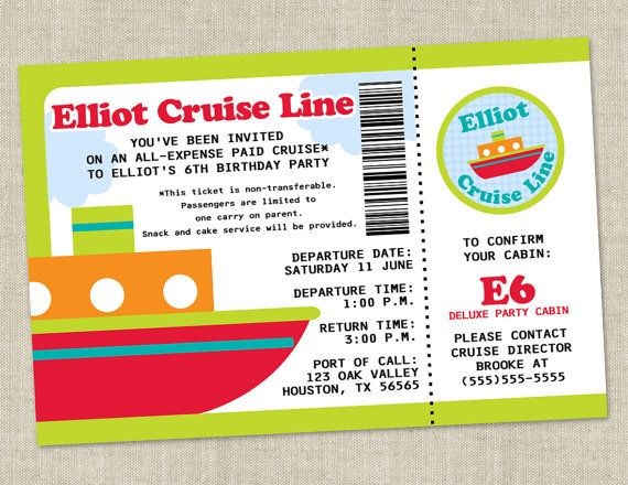 cruise boat birthday party invitation beach pool water birthday