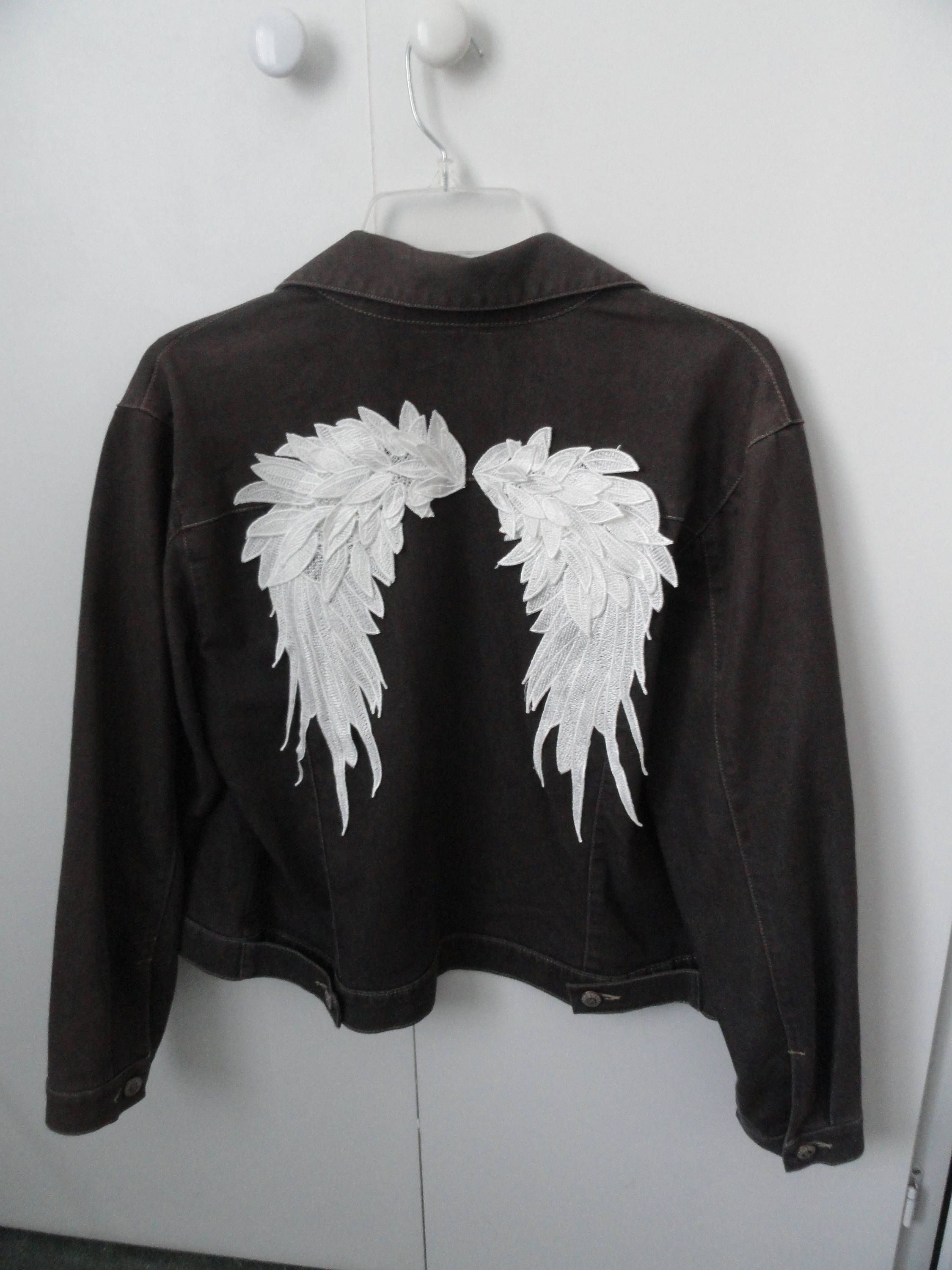 6553eab8b Grey with White Angel Wings Altered Couture Jean Jacket Boho Rocker ...
