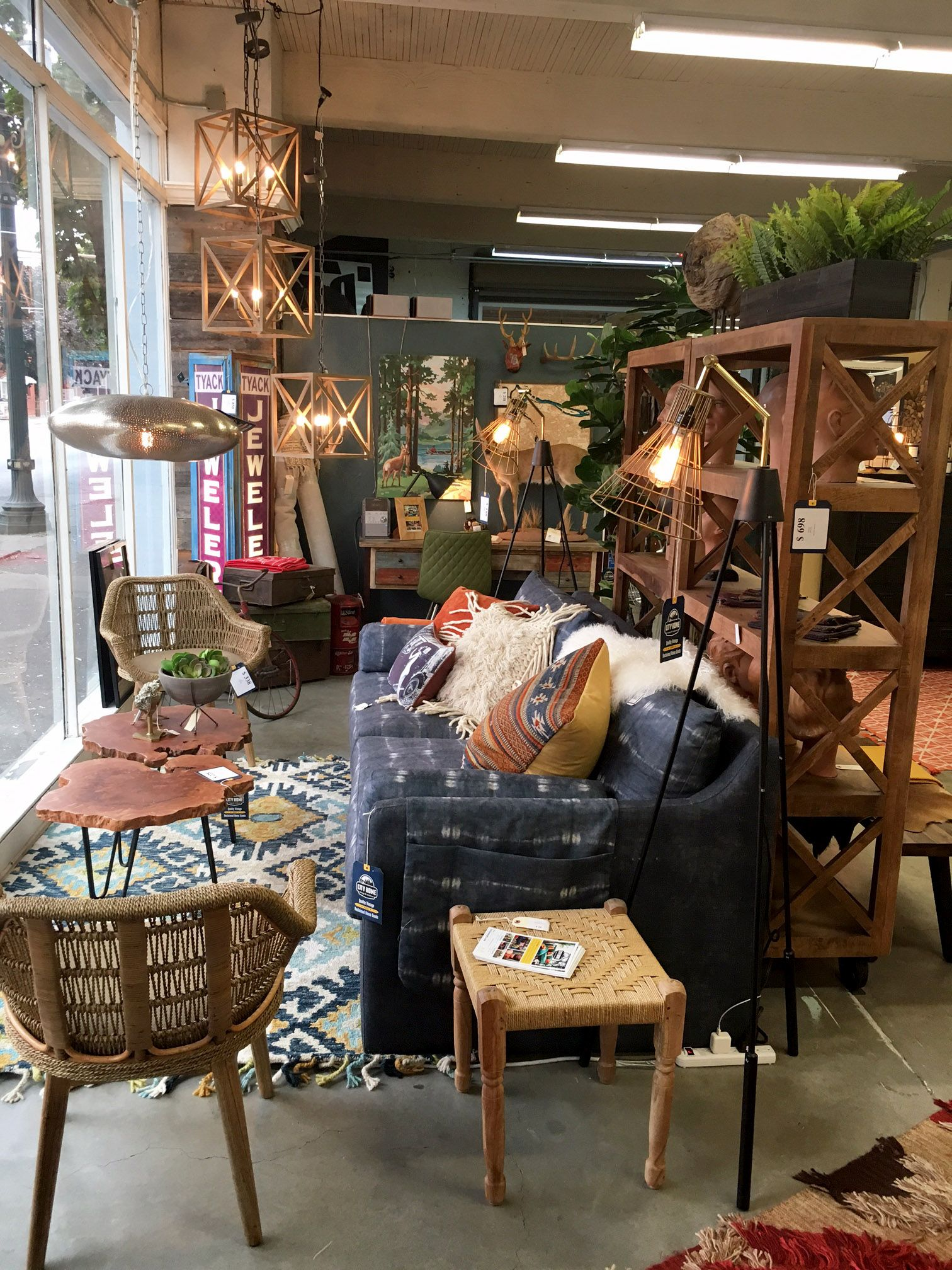 Indigo Dye Sofa From City Home Boutique In Urbanite Portland Oregon Living Room Style Chic Coffee Table Bright Pillows