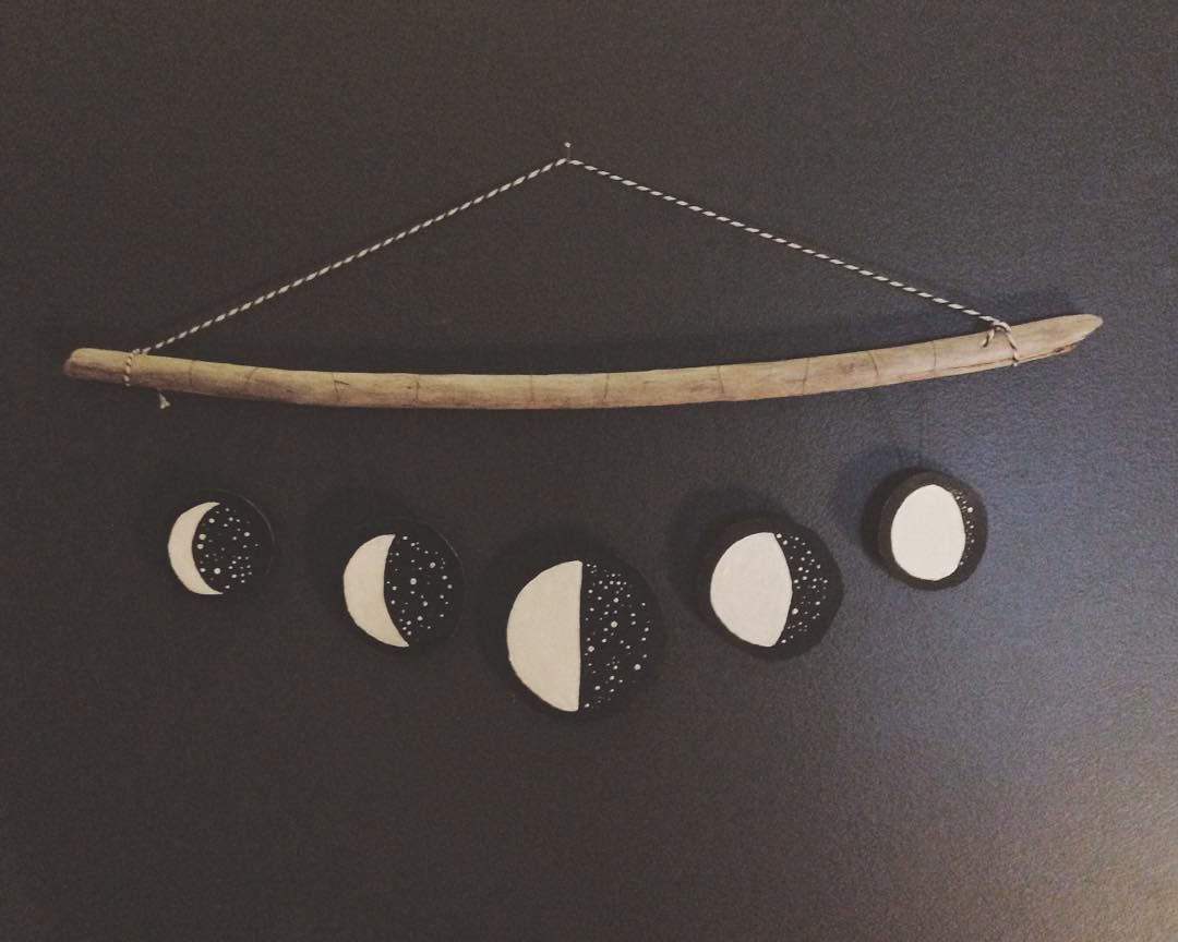 Semi successful first attempt at a moon phase mobile. In the name ...