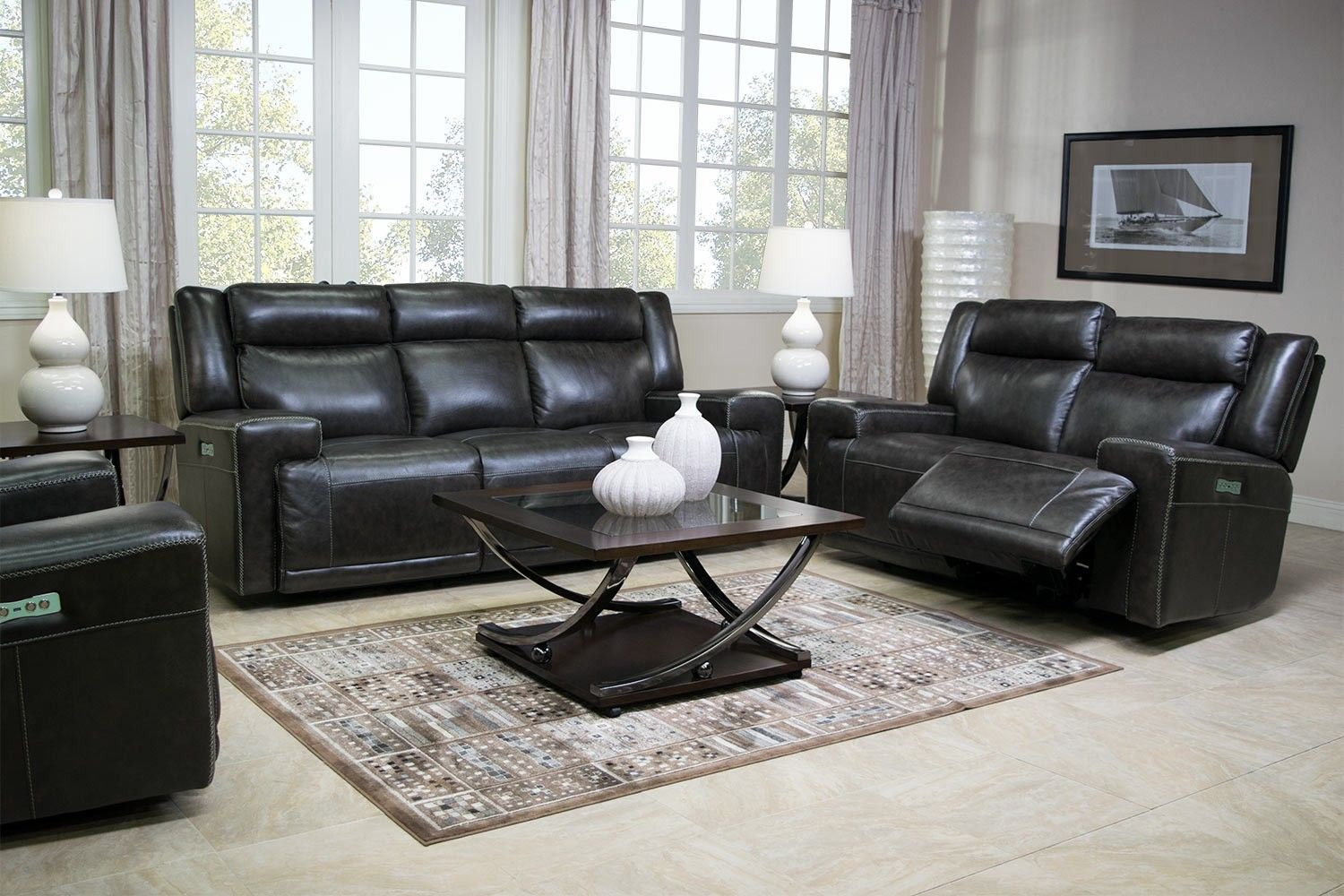 Leather Reclining Living Room Sets Rancor Leather Seating Power Reclining Living Room Media Image 1