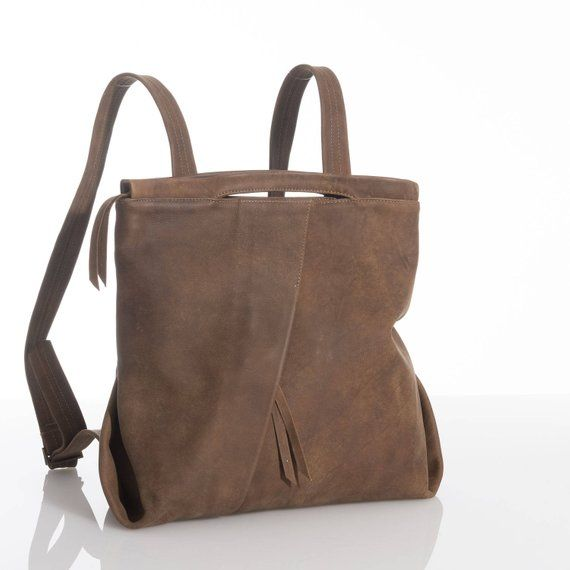 Brown Leather Backpack Rucksack Bag Medium