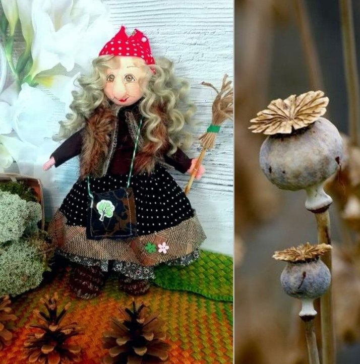 Handmade witch with broom, witch doll, portrait doll, textile doll, individual doll ,interior doll, witch doll, tilda doll