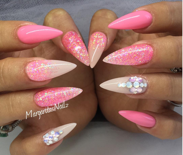 Bright Coral With Nude And Coral Reverse Glitter Fade