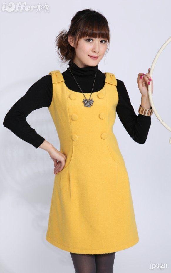 ca63a0bc7 Yellow Button Wool Jumper Dress -  69.99 (iOffer) Vestido Para El Frío