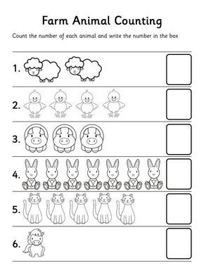 Farm Animal Counting Worksheet Preschool Counting Preschool Counting Worksheets Counting Worksheets For Kindergarten