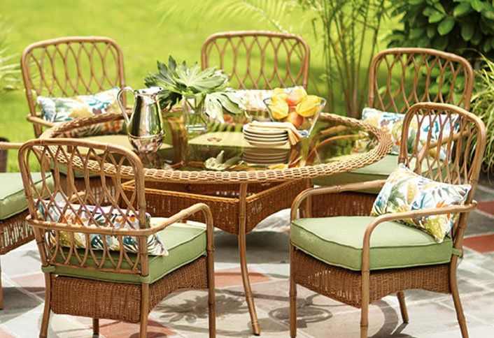 Patio Furniture For Your Outdoor Space By The Home Depot Home Depot Paver  Stone Patio With Dark Wicker Outdoor Sofa Set With Glass Top Coffee Tableu2026
