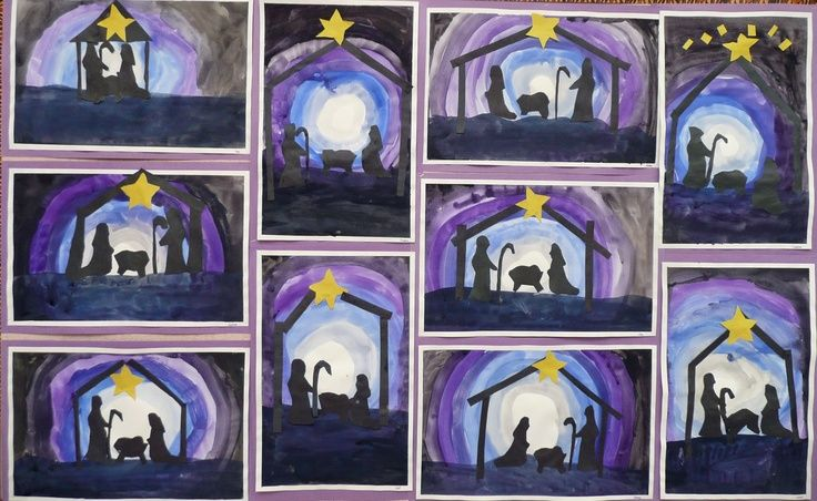 christmas art lessons nativity silhouettes christmas. Black Bedroom Furniture Sets. Home Design Ideas