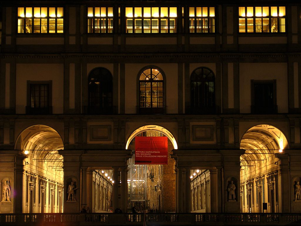 Uffizi at night
