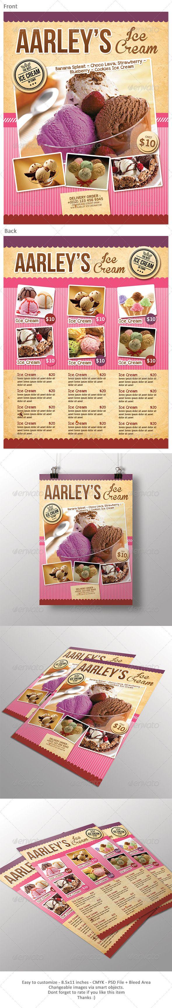 Ice Cream Menu Flyer | Menú de restaurante, Menus restaurantes y ...