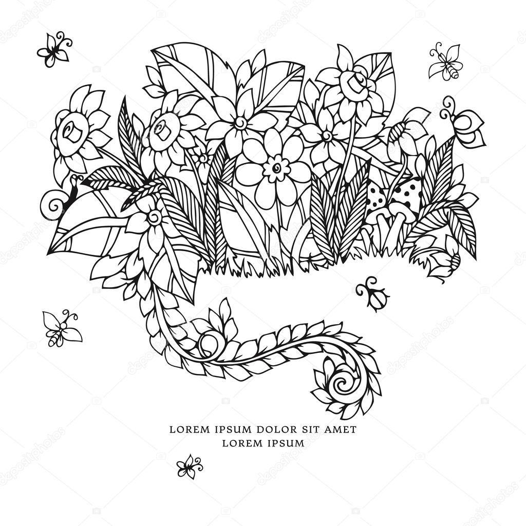 Pobieraj Wektor Ilustracja Karta Zentangl Z Kwiatami Doodle Kwiaty Wiosna Bizuteria Slub Kolorowank Vector Illustration Stock Illustration Illustration
