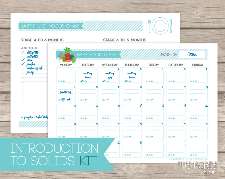 Baby Food Diary Introduction To Solids Kit Printable Pdf My Party Design Baby Food Recipes Food Diary Baby First Foods