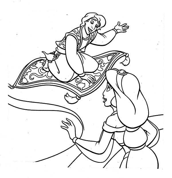 Aladdin Show Jasmine His Magic Carpet Coloring Page Download Print Online Coloring Pages For F Online Coloring Pages Coloring Pages Princess Coloring Pages