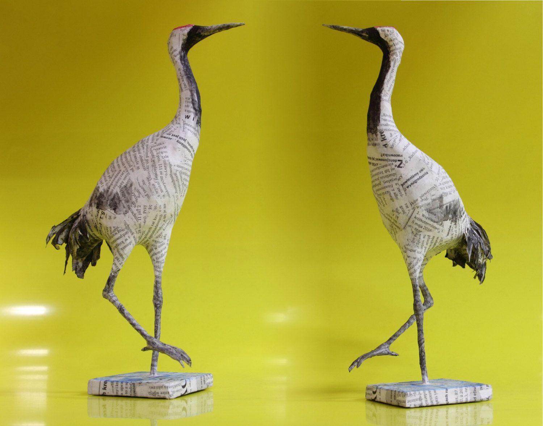 CRANE BIRD Paper Mache SCULPTURE, handmade paper mache art, shelf ...
