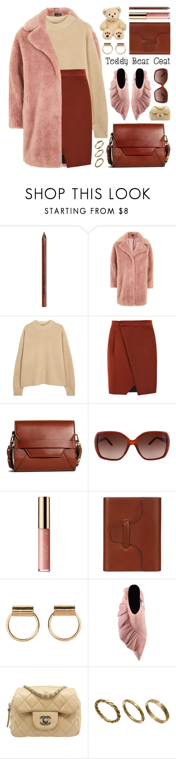 """snuggle up: teddy bear coats"" by jesuisunlapin ❤ liked on Polyvore featuring NYX, Topshop, The Row, Sportmax, Brooks Brothers, Chloé, tarte, Hayden, Chanel and Made"