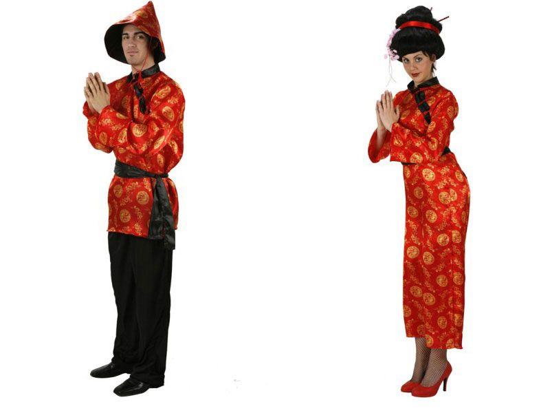 Pareja Disfraces de Chinos Rojos #parejas #disfraces #carnaval