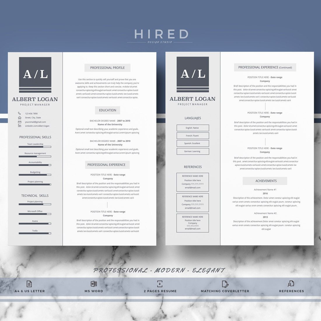 Professional Resume Template; Modern Resume, CV templates for Word ...