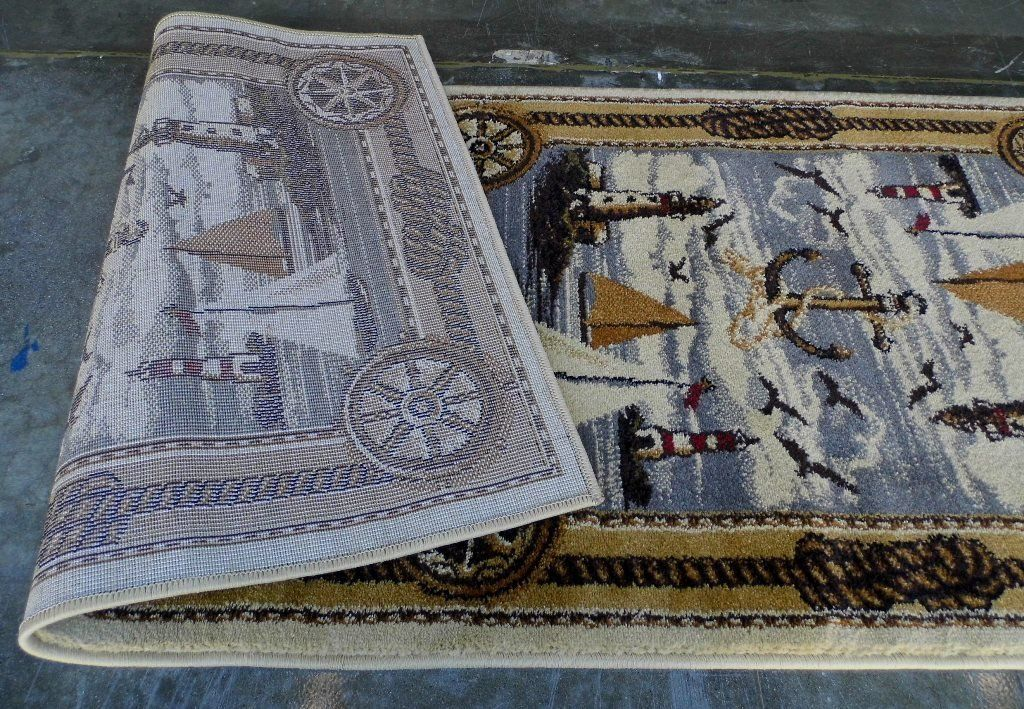 Area Rug Runner That Features A Nautical Scene Including
