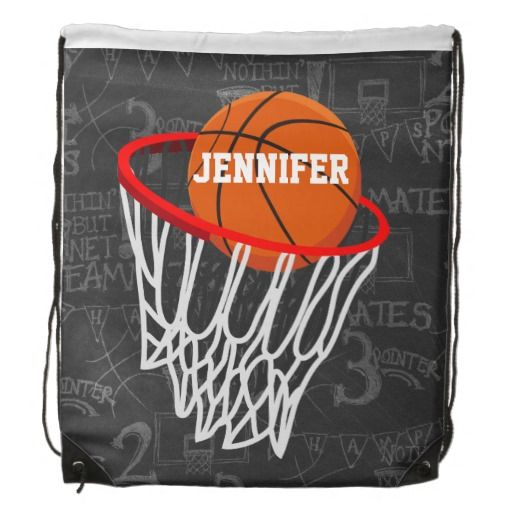 Personalized Basketball and Hoop Drawstring Bag