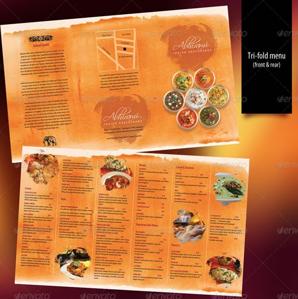 Indian Restaurant Menu set - A4 & Trifold | menu design ...