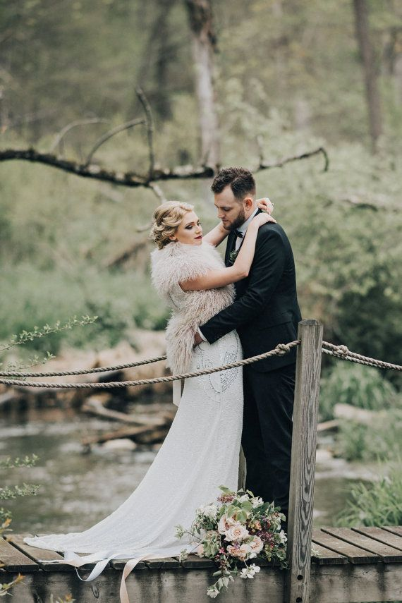 Plus Size Isla Off White Art Deco Wedding Gown Dress Vintage 20s