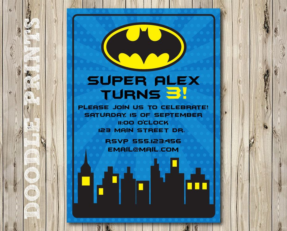 Printable Batman Super Hero Birthday Party Invitation - Customized ...
