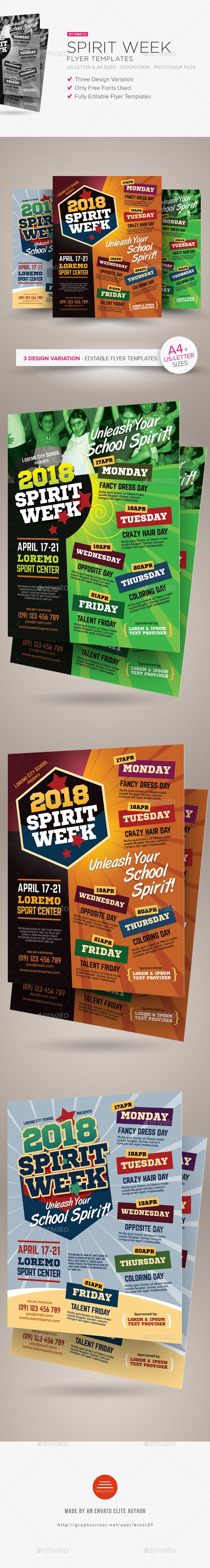 spirit week flyer templates miscellaneous events download here