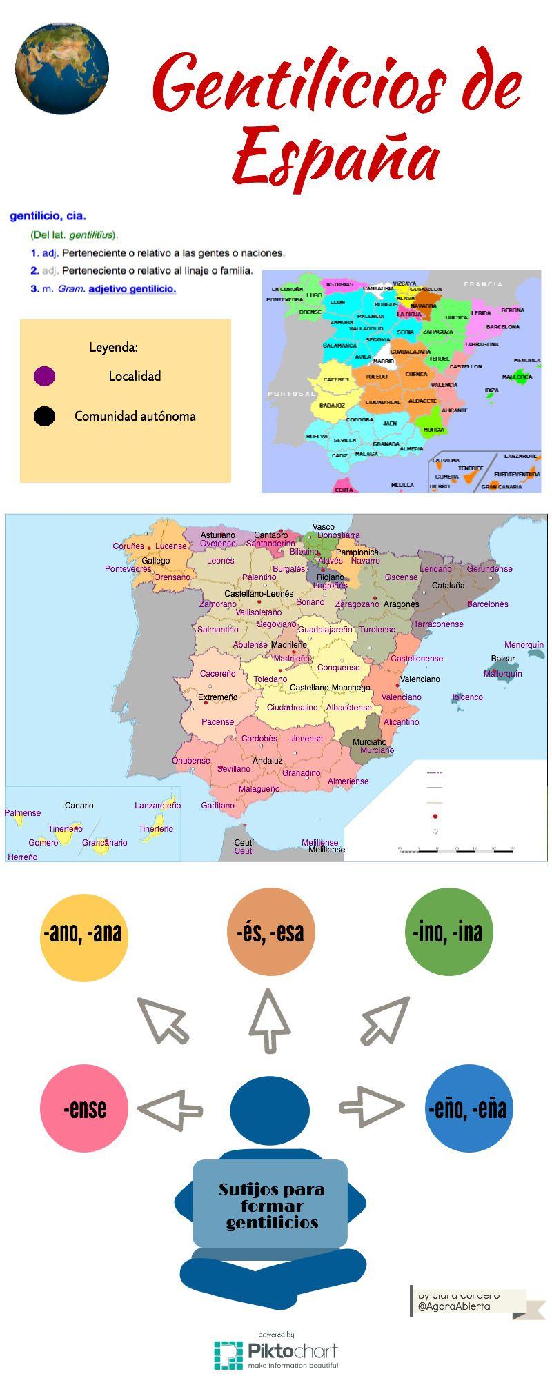 Gentilicios De España Piktochart Visual Editor Gentilicios España Aprender Español