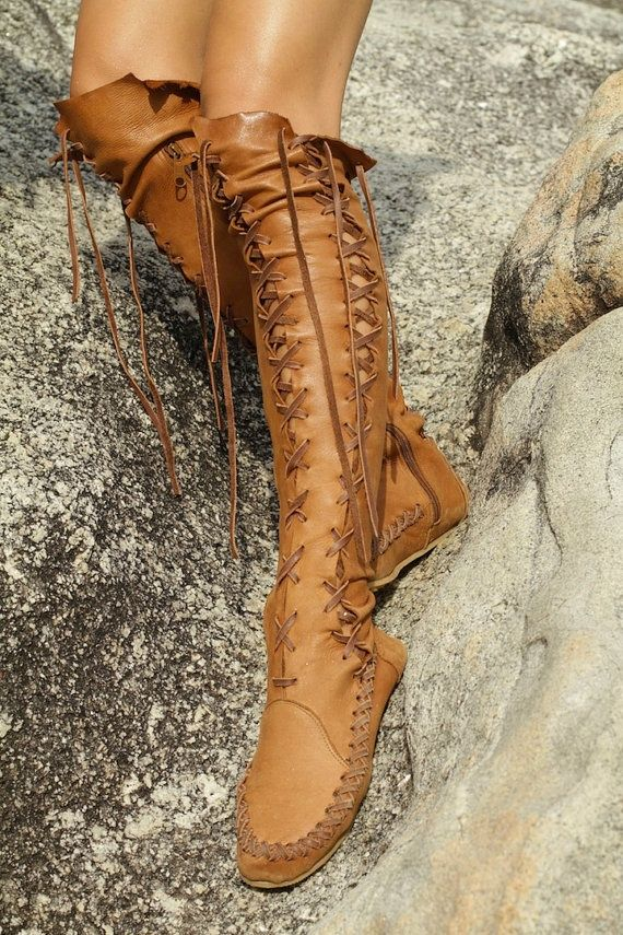 61c68da47 Gypsy Lace-Up Knee High Flat Boots | Carina's Pinboard | Tan leather ...