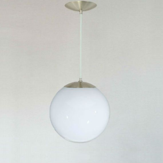 Modern Mid Century Globe Pendant Light   White Glass 10 Globe   The Orbiter  10 Neckless