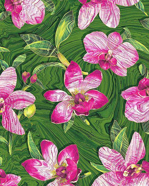 Orchids Marbled Flowers Emerald Green/Gold Kaffe