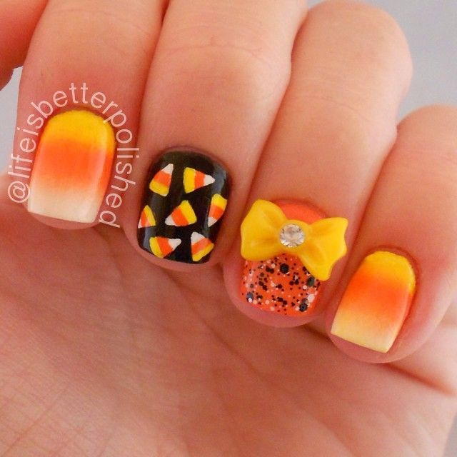 Top 17 New Halloween Nail Designs Easy Famous Home Manicure Fashion Trend 4 Cute Halloween Nails Candy Corn Nails Halloween Nail Designs