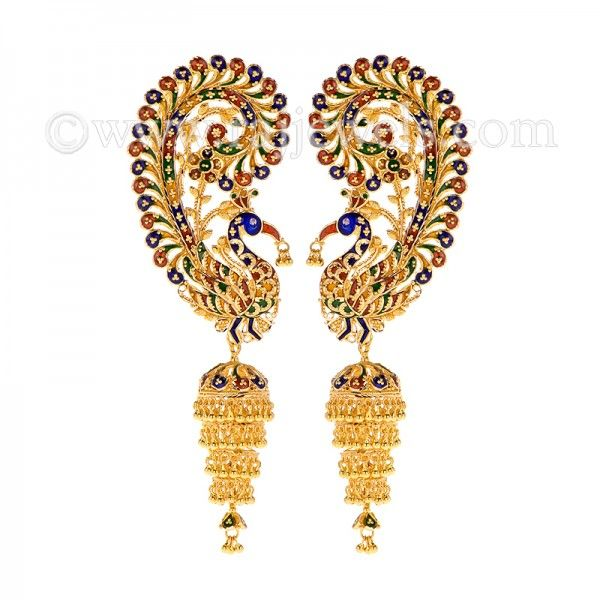 eb2c90510 Glamorous #peacock design #earcuff #kaanearring with a removable tiered  drop #jhumka detail