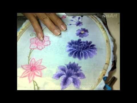 Belajar Bordir Membentuk Bunga Untuk Pemula Dan Mahir Youtube Tutorial Sulaman Pita Sulaman Bunga
