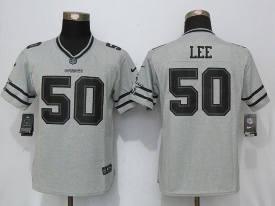 12d13226 Women Nfl Dallas Cowboys #50 Sean Lee Gray Gridiron Gray Ii Limited Jersey