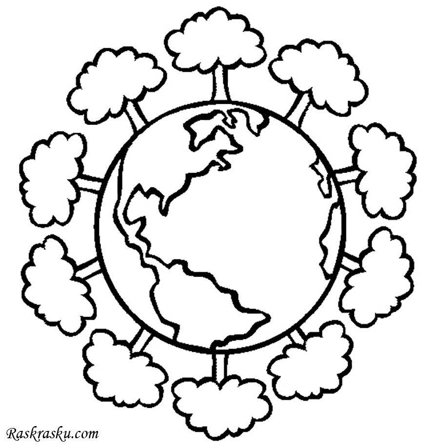 Распечатать раскраску Зеленая планета | Лэпбук | Раскраски ...