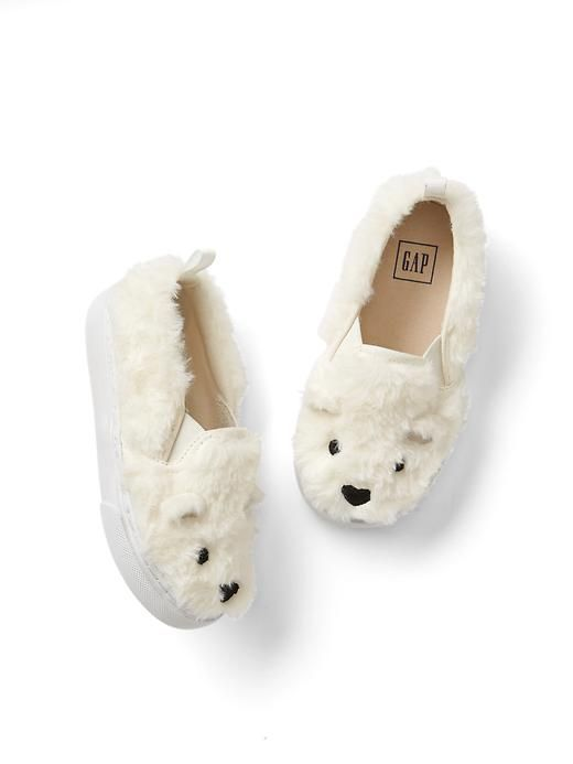 Fuzzy Bear Slip-On Sneakers