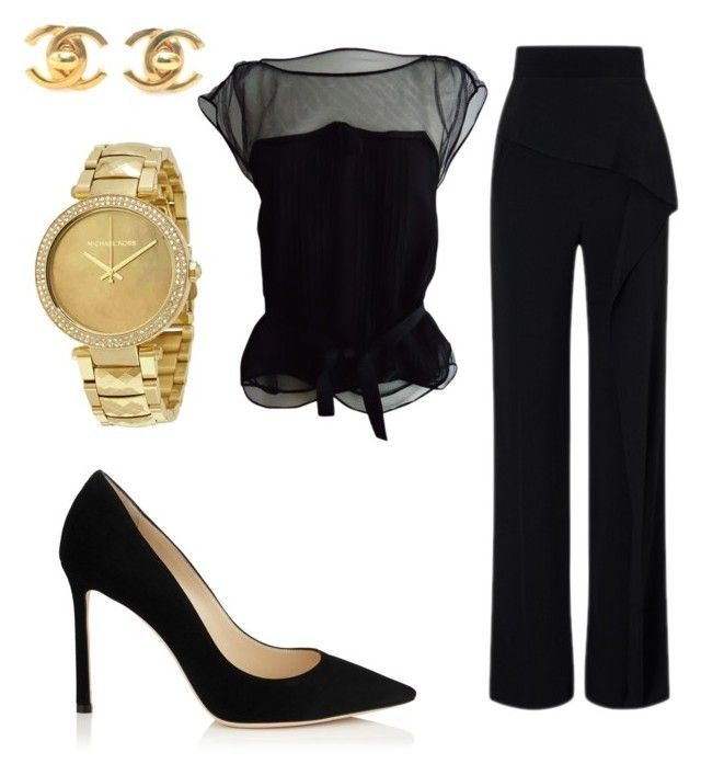 """Work"" by abberella888 on Polyvore featuring Louis Vuitton, Roland Mouret, Jimmy Choo, Chanel and Michael Kors"
