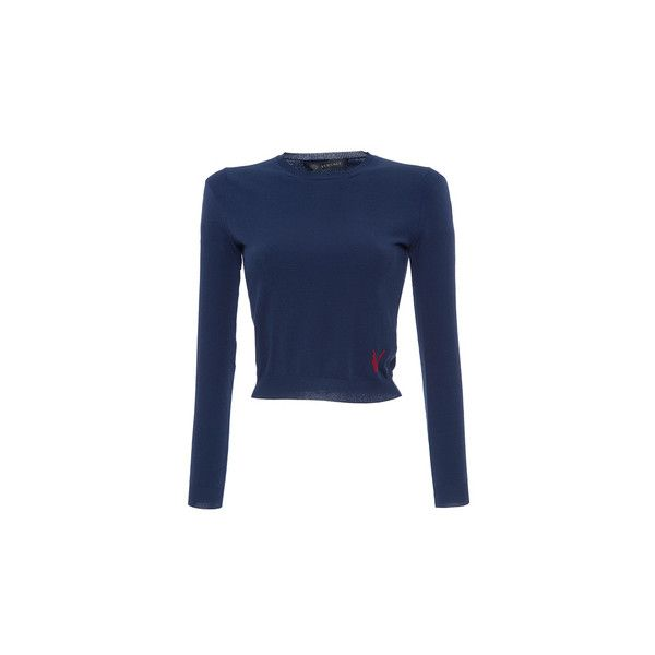 Antonio Marras     Long Sleeve Knit Top (€470) ❤ liked on Polyvore featuring tops, versace, slash neck top, boatneck top, raglan top, blue knit top and versace top