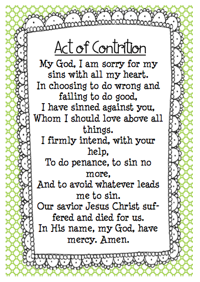 picture regarding Act of Contrition Prayer Printable identify Pin upon prayers